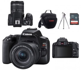Canon EOS Rebel SL3 Sensor 24.1MP, UHD 4K, Lente EF-S 18-55mm IS STM + Bolsa + Tripé + Memória 32GB Classe 10