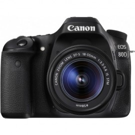 Canon EOS 80D Sensor APS-C CMOS 24.2MP, Lente 18-55mm f/4-5.6 IS STM