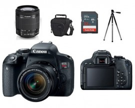 Canon EOS Rebel T7i Sensor CMOS APS-C 24.2MP, EF-S 18-55mm f/4-5.6 IS STM + Bolsa + Tripé + Memória 32GB Classe 10
